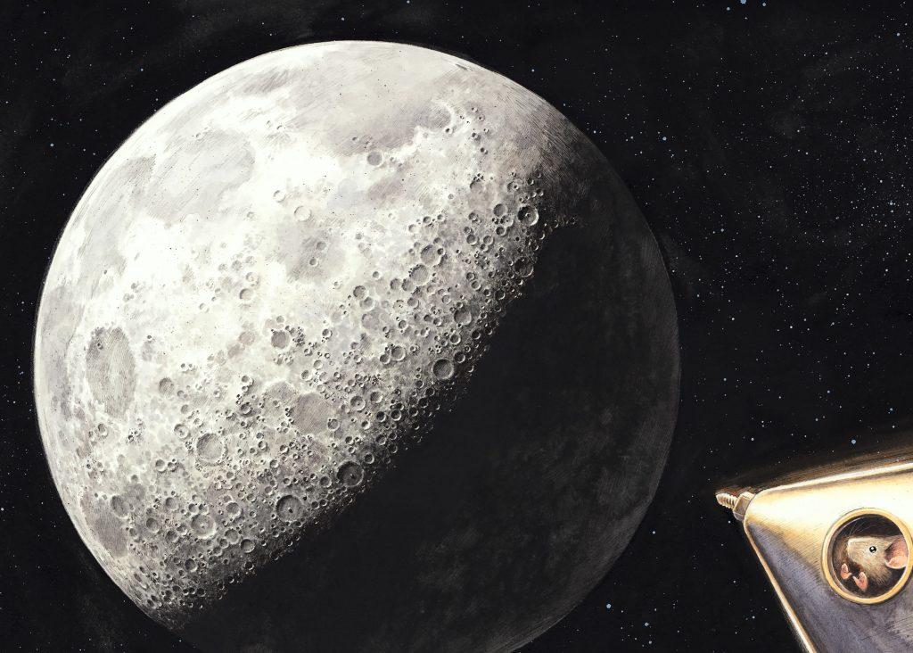 Illustrazione di un viaggio verso la Luna in una lettura per bambini Astrofarm